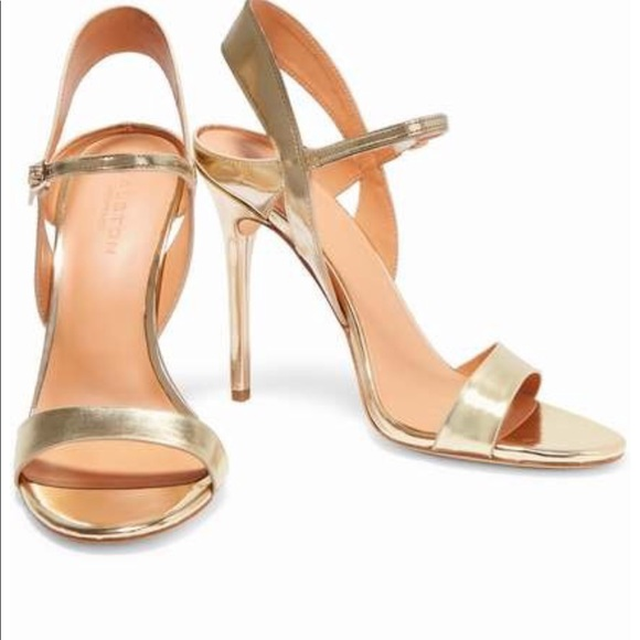 🔥NWT Halston Heritage Ainsley Gold Leather Sandal cf2981d259b78